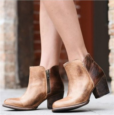 Women Ankle Boots High Heels Vintage PU Leather Plus Size Shoes