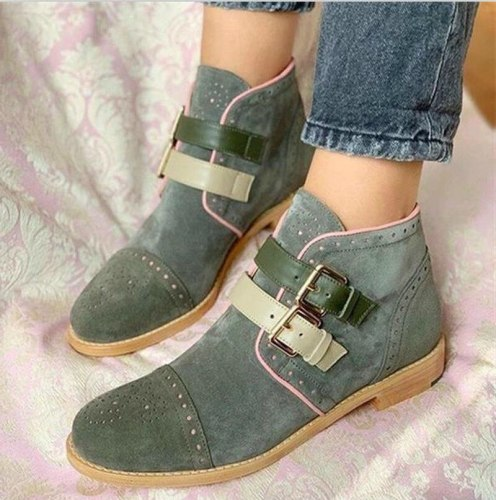 Women Ankle Boots Plus Size PU Leather Shoes