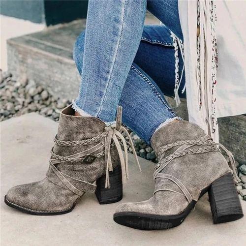 Women Ankle Boots High Heels Pumps Shoes Short Warm Vintage PU