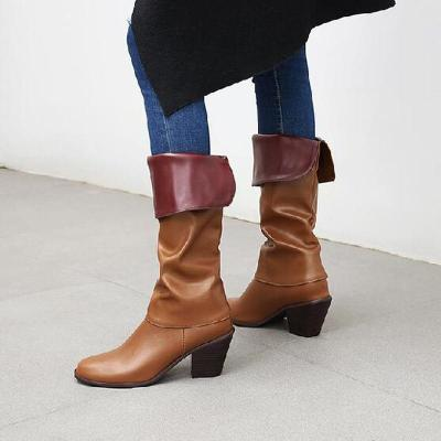 Women Knee High Boots Mid Heels Warm Shoes PU Leather Gladiator Shoe