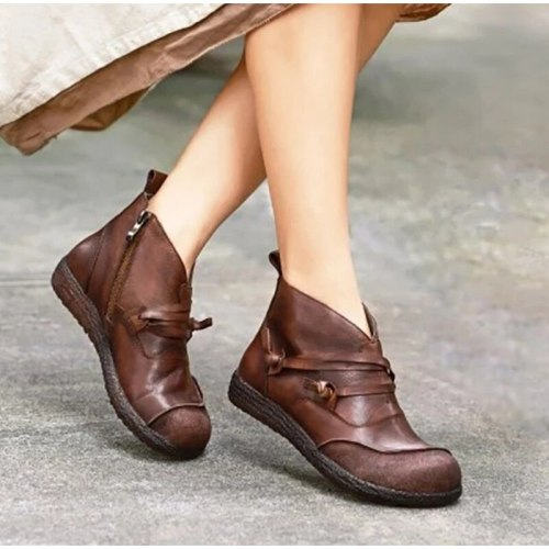 Women Vintage Ankle Boots Ladies Fashion PU Leather Platform Casual
