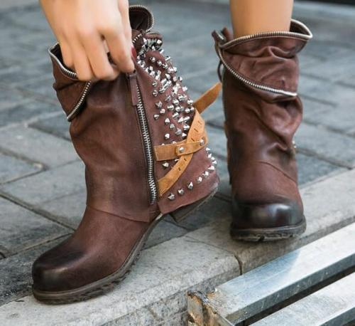 Women Mid-Calf Boots Vintage PU Leather Mid Heels Matin Shoes