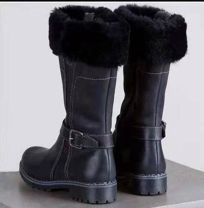 Women Knee High Boots Low Heels Shoes Vintage PU Leather Winter Snow Warm Shoe