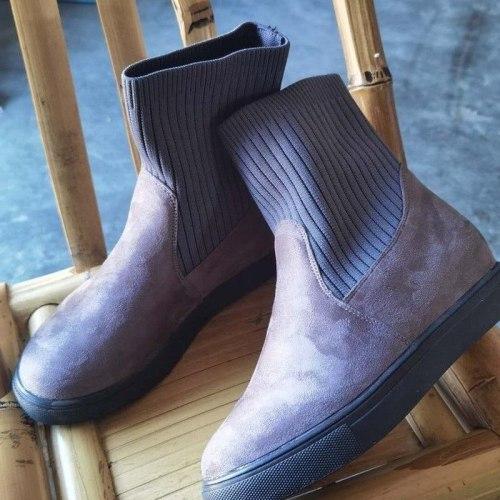 Women Ankle Boots Flats Shoes Short Booties Warm Shoe