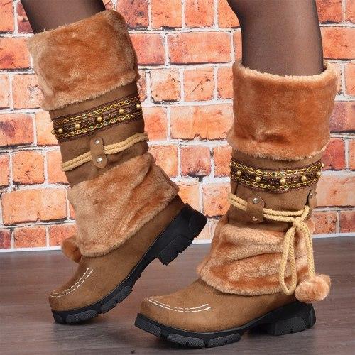 Women Mid-Calf Boots Mid Heels Winter Snow Warm Shoes Vintage Booties