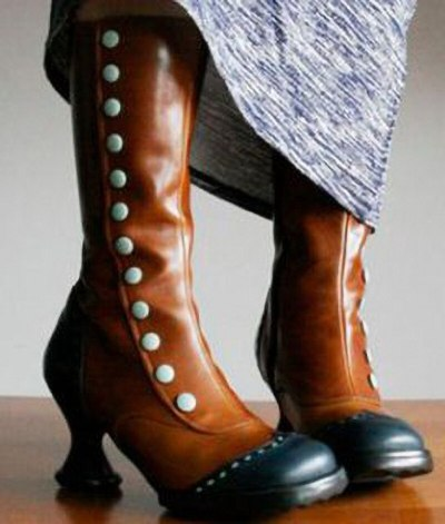 Women Mid-Calf Boots High Heels PU Leather Warm Plus Size Shoes