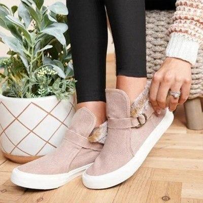 Women Ankle Boots Flat Shoes Vintage PU Leather Warm Shoe