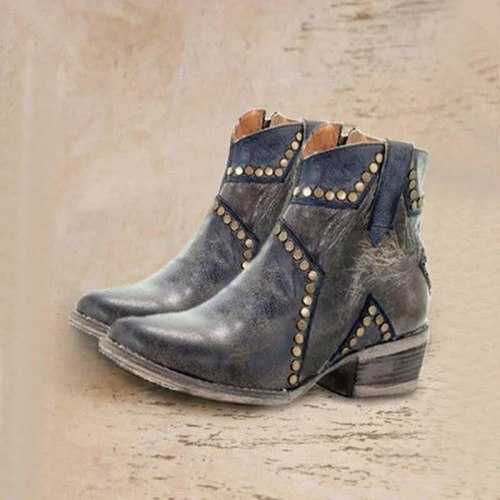 Women Ankle Boots Booties Gladiator Mid Heels Vintage PU Leather Matin Shoes