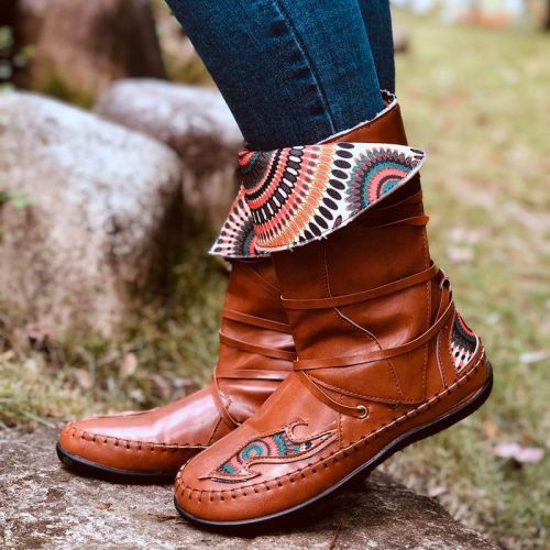 Women Mid-Calf Boots Flats Shoes Vintage PU Leather Ethic Bohemia Shoe
