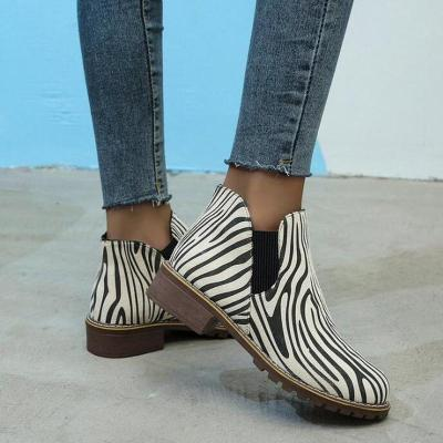 Women Ankle Boots Low Heels Vintage PU Leather Shoes