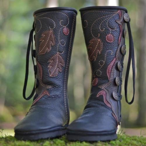 Snow Boots Women Knee High Boot Winter Shoes Vintage Booties Fashion