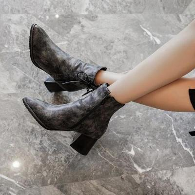 Women Ankle Boots High Heels Pumps Shoes Vintage PU Leather