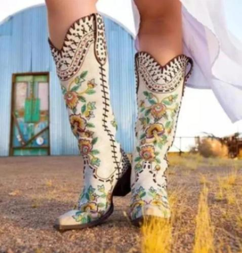 Women High Heels Knee High Boots Plus Size Vintage Embroidery