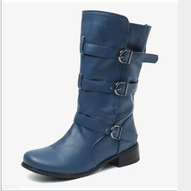 Women Mid-Calf Boots PU Leather Autumn Matin Buckle Shoes