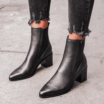 Women Ankle Boots High Heels Pumps PU Leather Pointed Toe Shoes