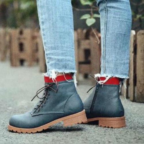 Women Ankle Boots Low Heels Shoes Vintage PU Leather Plus Size Shoes