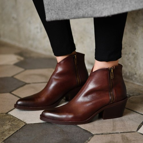 Women Ankle Boots Mid Heels Pumps Vintage PU Leather Shoes