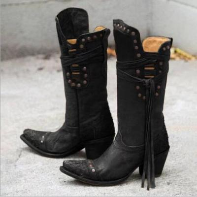 Women Mid-Calf Boots Ladies High Heels Vintage PU Lace up Shoes Woman