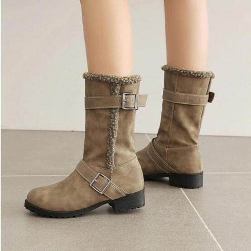 Women Mid-Calf Boots Mid Heels Shoes Vintage PU Leather Winter Snow