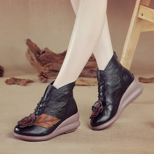 Women Ankle Boots Mid Heels Short Booties Plus Size Vintage PU Leather Wedges Shoes