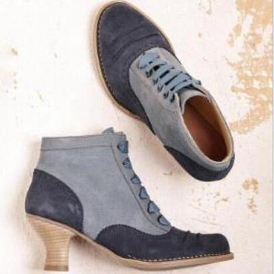 Women Ankle Boots Ladies Mid Heels Pumps Vintage Shoes