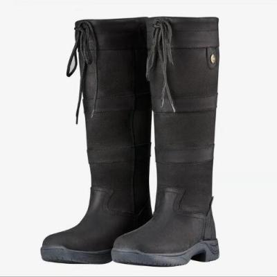 Women Knee High Boots Heels Vintage PU Leather Lace up Shoes