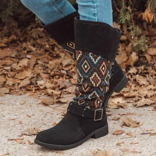 Women Knee High Boots Chunky Low Heels Shoes Winter