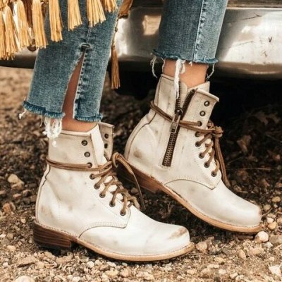 Women Ankle Boots Low Heels Shoes Vintage PU Leather Warm