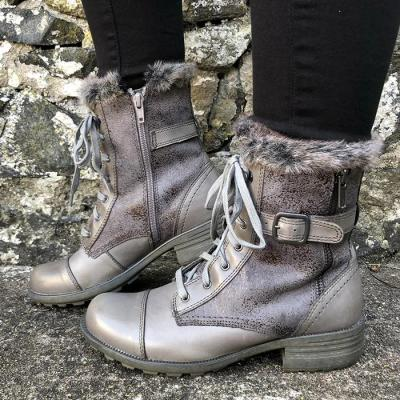 Women Mid-Calf Boots Chunky Mid Heels Shoes Snow Warm