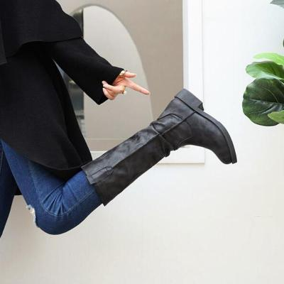 Women Knee High Boots Heels Shoes Plus Size Vintage PU Leather
