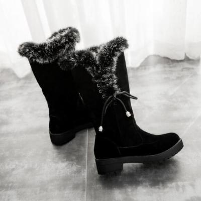 Women Mid-Calf Boots Mid heels Shoes Booties Winter Snow Warm