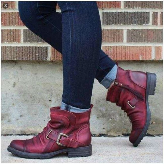Women Ankle Boots Low Heels Plus Size Vintage PU Leather Martin Shoes