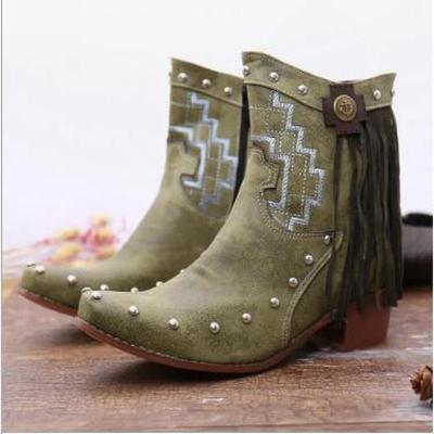 Women Ankle Boots Vintage PU Leather Plus Size Heels