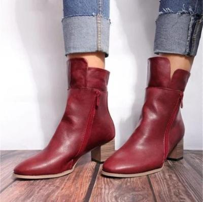 Women Plus Size High Heels Mid-Calf Boots PU Leather