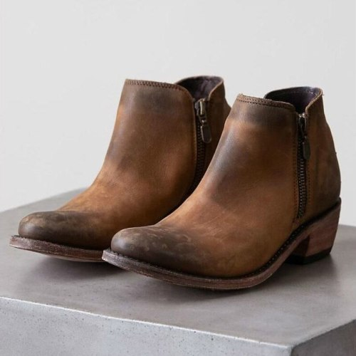 Women Ankle Boots Chunky Low Heels Ladies Vintage PU Leather