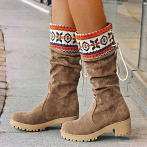 Women Mid-Calf Boots High Heels Shoes