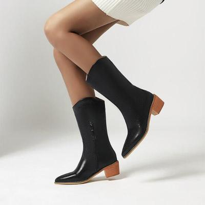 Women Mid-Calf Boots Mid Heels Matin Shoes Plus Size PU Leather Gladiator Shoe