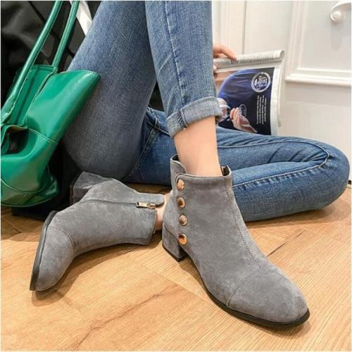 Women Ankle Boots Chunky Mid Heels Shoes Plus Size
