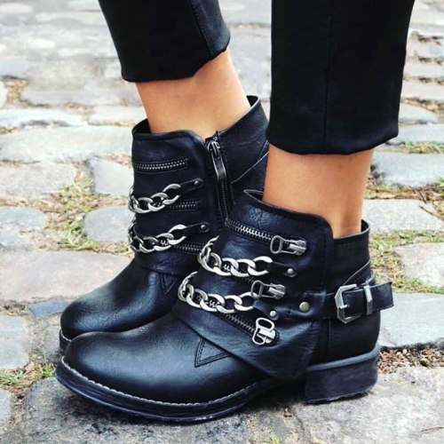 Women Ankle Boots Low Heels PU Leather Gladiator Buckle Matin Shoes