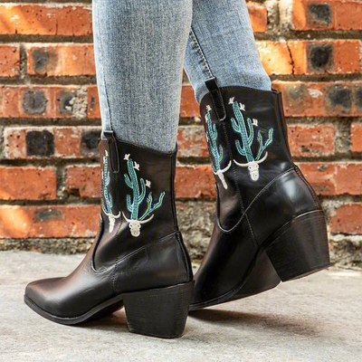 Women Mid-Calf Boots High Heels Shoes Plus Size Embroidery Booties