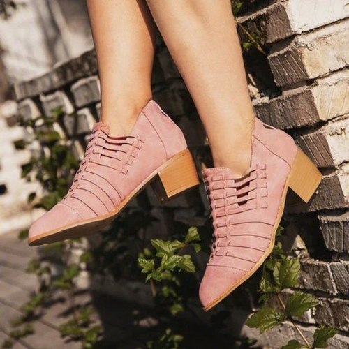 Women Ankle Boots Pumps Vintage PU Leather Shoes Plus Size Gladiator Booties