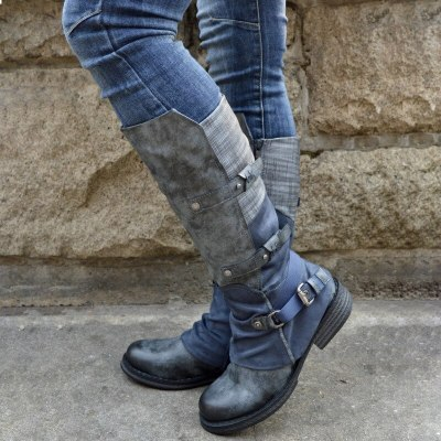 Women Mid-Calf Boots Low Heels Shoes Vintage PU Leather Warm Martin Shoe