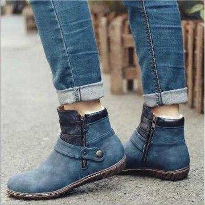 Women Ankle Boots Flat Shoes Vintage PU Leather Flats Plus Size Shoes