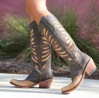 Women Mid-Calf Boots Vintage PU Leather Slip On Shoes