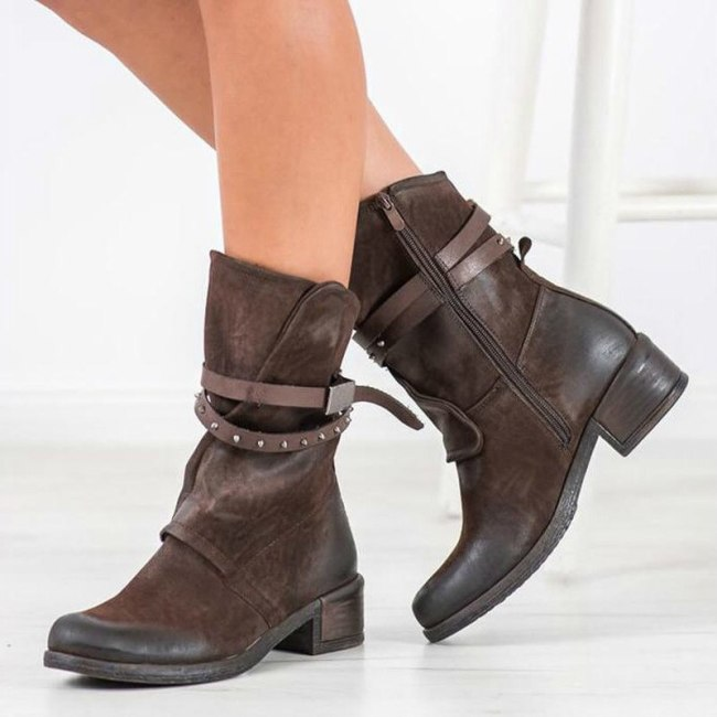 Women Mid-Calf Boots Low Heels Shoes vintage PU Leather