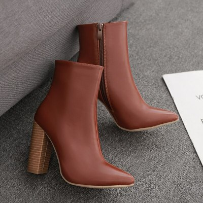 Women Ankle Boots High Heels Warm Vintage Pointed Toe Shoes