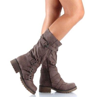 Retro Buckles Female Shoes Women Mid-Calf Women Boots