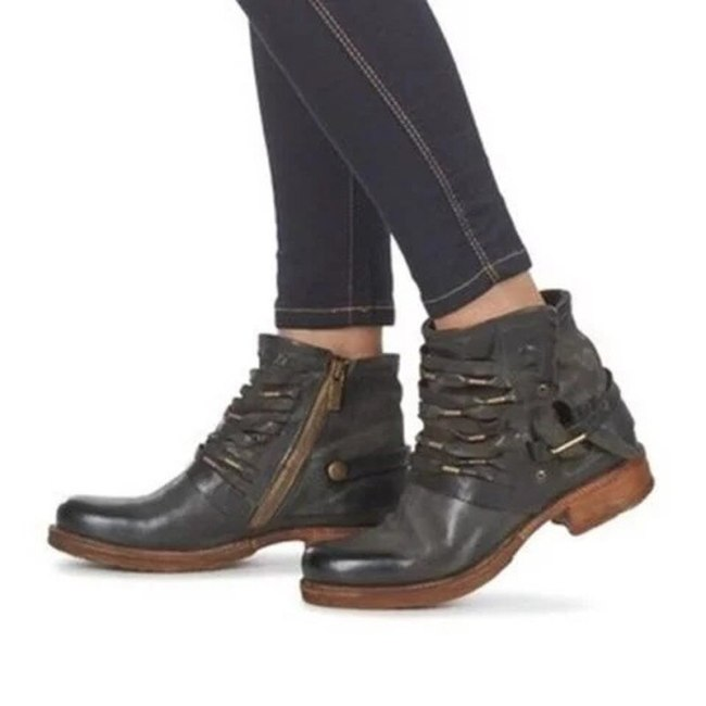 Women Ankle Boots Chunky Low Heels Round Toe Leather Shoes