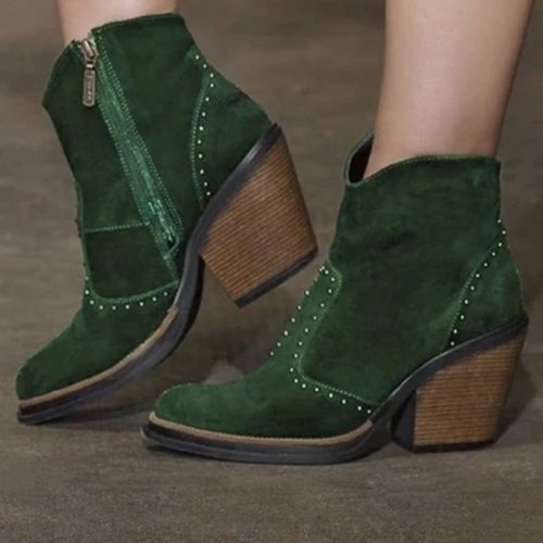 Women Ankle Boots Leather Retro Boots Cowboy Shoe