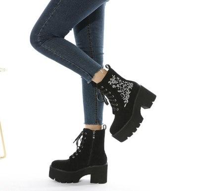 Matin Shoes Woman Plus Size Autumn Warm Lace Up Shoe Mid-Calf Boots